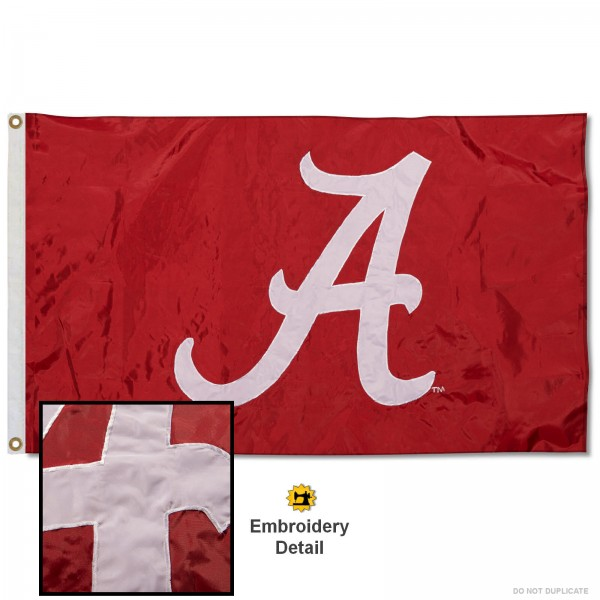Alabama Crimson Tide Nylon Embroidered Flag measures 3'x5', is made of 100% nylon, has quadruple flyends, two metal grommets, and has double sided appliqued and embroidered University logos. These Alabama Crimson Tide 3x5 Flags are officially licensed by the selected university and the NCAA.