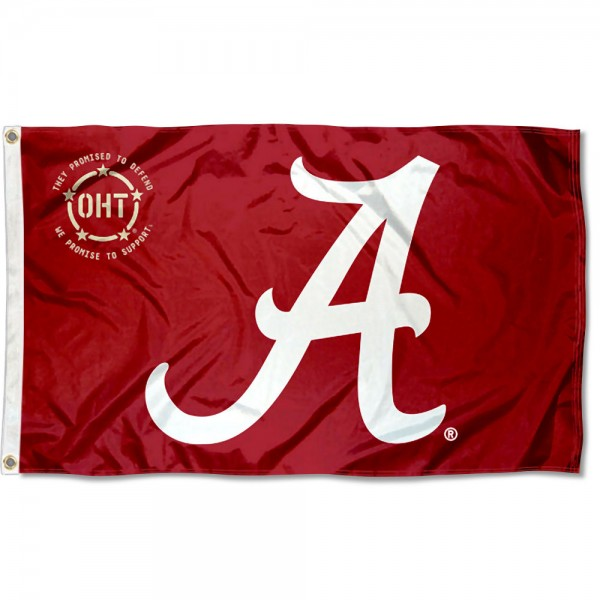 Alabama Crimson Tide Operation Hat Trick Flag measures 3x5 feet, is made of 100% polyester, offers quadruple stitched flyends, has two metal grommets, and offers screen printed NCAA team logos and insignias. Our Alabama Crimson Tide Operation Hat Trick Flag is officially licensed by the selected university and NCAA.