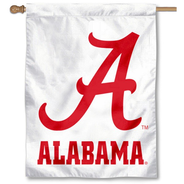 Alabama Crimson Tide Outdoor Flag is a vertical house flag which measures 28x42 inches, is made of 2 ply 100% polyester, offers dye sublimated NCAA team insignias, and has a top pole sleeve to hang vertically. Our Alabama Crimson Tide Outdoor Flag is officially licensed by the selected university and the NCAA