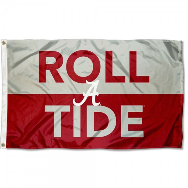 Alabama Crimson Tide Roll Tide Flag measures 3x5 feet, is made of 100% polyester, offers quadruple stitched flyends, has two metal grommets, and offers screen printed NCAA team logos and insignias. Our Alabama Crimson Tide Roll Tide Flag is officially licensed by the selected university and NCAA.