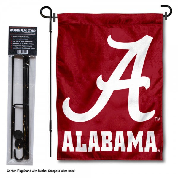 "Alabama Crimson Tide Script A Garden Flag and Stand kit includes our 13""x18"" garden banner which is made of 2 ply poly with liner and has screen printed licensed logos. Also, a 40""x17"" inch garden flag stand is included so your Alabama Crimson Tide Script A Garden Flag and Stand is ready to be displayed with no tools needed for setup. Fast Overnight Shipping is offered and the flag is Officially Licensed and Approved by the selected team."