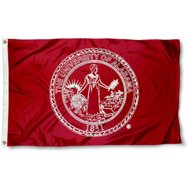 Alabama Crimson Tide Seal Logo Flag measures 3'x5', is made of 100% poly, has quadruple stitched sewing, two metal grommets, and has double sided Team University logos. Our Alabama Crimson Tide 3x5 Flag is officially licensed by the selected university and the NCAA.