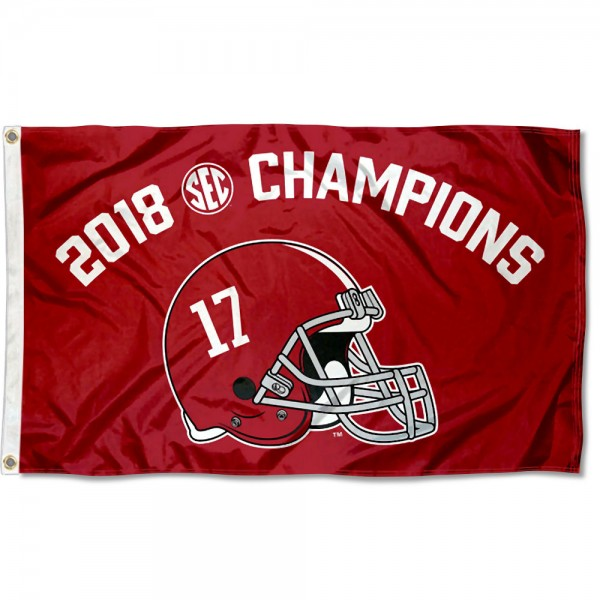 Alabama Crimson Tide SEC 2018 Football Champions Flag measures 3x5 feet, is made of 100% polyester, offers quadruple stitched flyends, has two metal grommets, and offers screen printed NCAA team logos and insignias. Our Alabama Crimson Tide SEC 2018 Football Champions Flag is officially licensed by the selected university and NCAA.