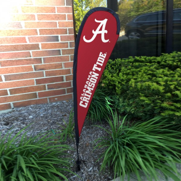 Alabama Crimson Tide Small Feather Flag measures a 4' tall when fully assembled and roughly 1' wide. The kit includes a Feather Flag, 2 Piece Fiberglass Pole, pole connector, and matching Ground Stake. Our Alabama Crimson Tide Small Feather Flag easily assembles and is NCAA Officially Licensed by the selected school or university.