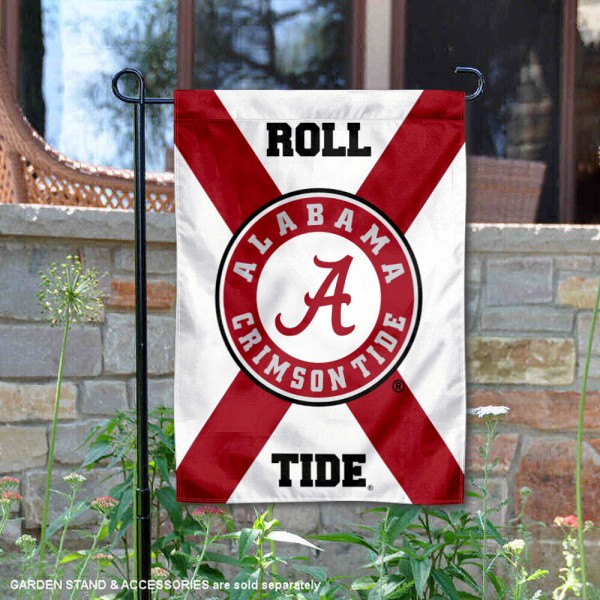 Alabama Crimson Tide State of Alabama Garden Flag is 13x18 inches in size, is made of thick blockout polyester, screen printed university athletic logos and lettering, and is readable and viewable correctly on both sides. Available same day shipping, our Alabama Crimson Tide State of Alabama Garden Flag is officially licensed and approved by the university and the NCAA.