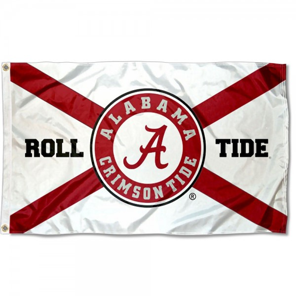 Alabama Crimson Tide State of Alabama Roll Tide Flag measures 3x5 feet, is made of 100% polyester, offers quadruple stitched flyends, has two metal grommets, and offers screen printed NCAA team logos and insignias. Our Alabama Crimson Tide State of Alabama Roll Tide Flag is officially licensed by the selected university and NCAA.