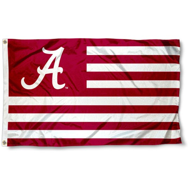 Alabama Crimson Tide Striped Flag measures 3'x5', is made of polyester, offers quadruple stitched flyends for durability, has two metal grommets, and is viewable from both sides with a reverse image on the opposite side. Our Alabama Crimson Tide Striped Flag is officially licensed by the selected school university and the NCAA.