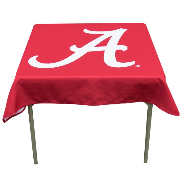 Alabama Crimson Tide Table Cloth measures 48 x 48 inches, is made of 100% Polyester, seamless one-piece construction, and is perfect for any tailgating table, card table, or wedding table overlay. Each includes Officially Licensed Logos and Insignias.