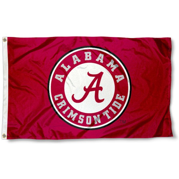 Alabama Crimson Tide Team Flag measures 3'x5', is made of 100% polyester, offers double stitched flyends for durability, has two metal grommets, and is viewable from both sides with a reverse image on the opposite side. Our Alabama Crimson Tide Team Flag is officially licensed by the selected school university and the NCAA