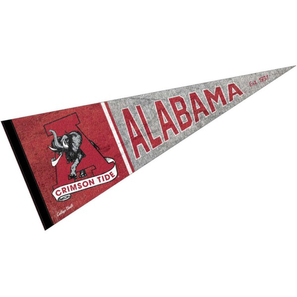 Alabama Crimson Tide Throwback Retro Vintage Pennant Flag is 12x30 inches, is made of wool and felt, has a pennant stick sleeve, and the Alabama Crimson Tide logos are single sided screen printed. Our Alabama Crimson Tide Throwback Retro Vintage Pennant Flag is licensed by the university.