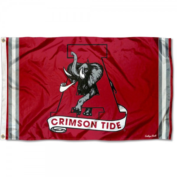 Alabama Crimson Tide Throwback Vault Logo Flag measures 3x5 feet, is made of 100% polyester, offers quadruple stitched flyends, has two metal grommets, and offers screen printed NCAA team logos and insignias. Our Alabama Crimson Tide Throwback Vault Logo Flag is officially licensed by the selected university and NCAA.