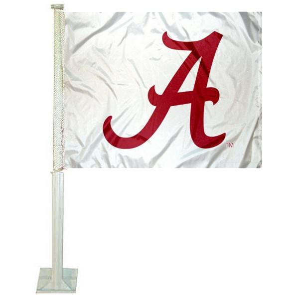 Alabama Crimson Tide White Car Window Flag measures 12x15 inches, is constructed of sturdy 2 ply polyester, and has screen printed school logos which are readable and viewable correctly on both sides. Alabama Crimson Tide White Car Window Flag is officially licensed by the NCAA and selected university.