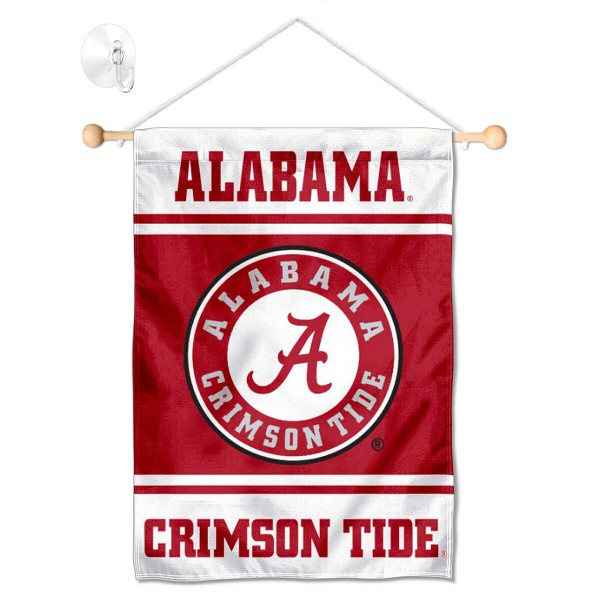 """Alabama Crimson Tide Window and Wall Banner kit includes our 13""""x18"""" garden banner which is made of 2 ply poly with liner and has screen printed licensed logos. Also, a 17"""" wide banner pole with suction cup is included so your Alabama Crimson Tide Window and Wall Banner is ready to be displayed with no tools needed for setup. Fast Overnight Shipping is offered and the flag is Officially Licensed and Approved by the selected team."""