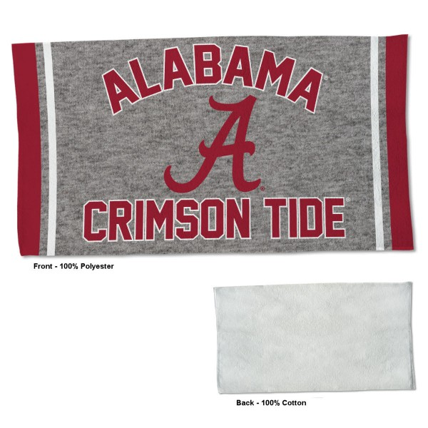 Alabama Crimson Tide Workout Exercise Towel measures 22x42 inches, is made of 100% Polyester on the front and 100% Cotton on the back, has double stitched sewing perimeter, and Graphics and Logos, as shown. Our Alabama Crimson Tide Workout Exercise Towel is officially licensed by the selected university and the NCAA. Also, machine washable and dryer safe.