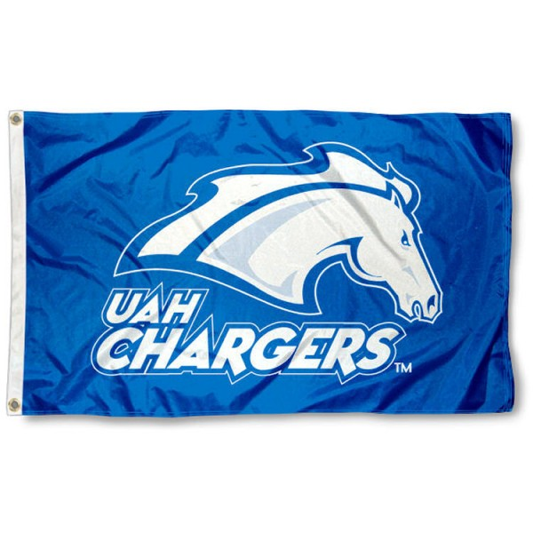 Alabama Huntsville Chargers Flag is made of 100% nylon, offers quad stitched flyends, measures 3x5 feet, has two metal grommets, and is viewable from both side with the opposite side being a reverse image. Our Alabama Huntsville Chargers Flag is officially licensed by the selected college and NCAA