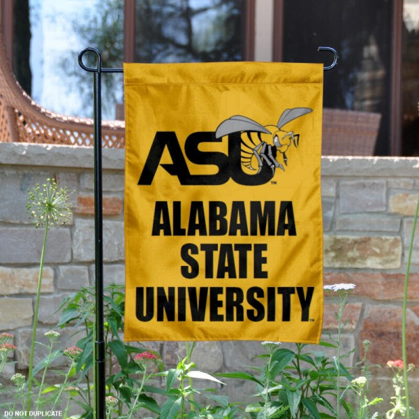 Alabama State ASU Garden Flag is 13x18 inches in size, is made of 2-layer polyester, screen printed Alabama State ASU athletic logos and lettering. Available with Same Day Express Shipping, Our Alabama State ASU Garden Flag is officially licensed and approved by Alabama State ASU and the NCAA.