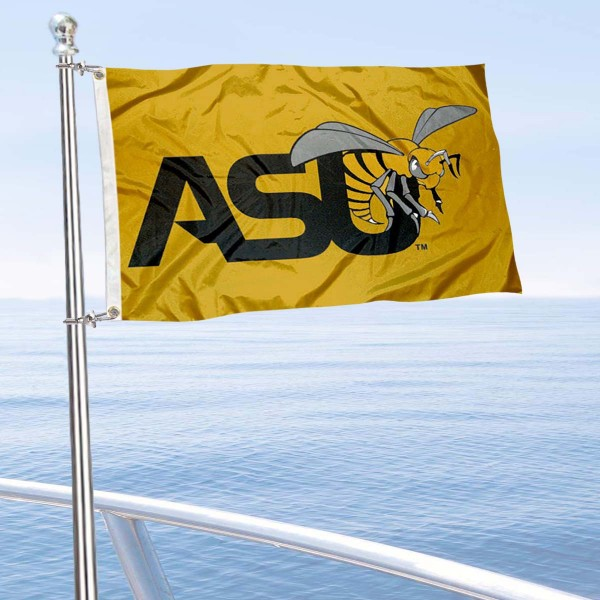 Alabama State Hornets Boat and Mini Flag is 12x18 inches, polyester, offers quadruple stitched flyends for durability, has two metal grommets, and is double sided. Our mini flags for Alabama State Hornets are licensed by the university and NCAA and can be used as a boat flag, motorcycle flag, golf cart flag, or ATV flag.