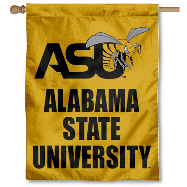 Alabama State Hornets House Flag is a vertical house flag which measures 30x40 inches, is made of 2 ply 100% polyester, offers screen printed NCAA team insignias, and has a top pole sleeve to hang vertically. Our Alabama State Hornets House Flag is officially licensed by the selected university and the NCAA.