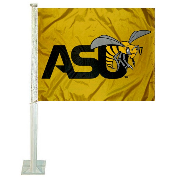 Alabama State Hornets Logo Car Flag measures 12x15 inches, is constructed of sturdy 2 ply polyester, and has screen printed school logos which are readable and viewable correctly on both sides. Alabama State Hornets Logo Car Flag is officially licensed by the NCAA and selected university.