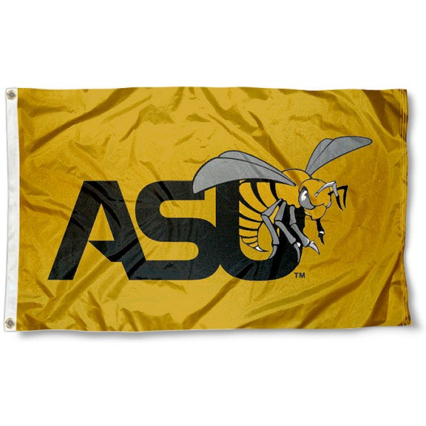 Alabama State University Flag is made of Poly, Screen Printed logos of Alabama State University, 3'x5' in Size, and Viewable from Both Sides. These Flags for Alabama State University are a NCAA Licensed Product.