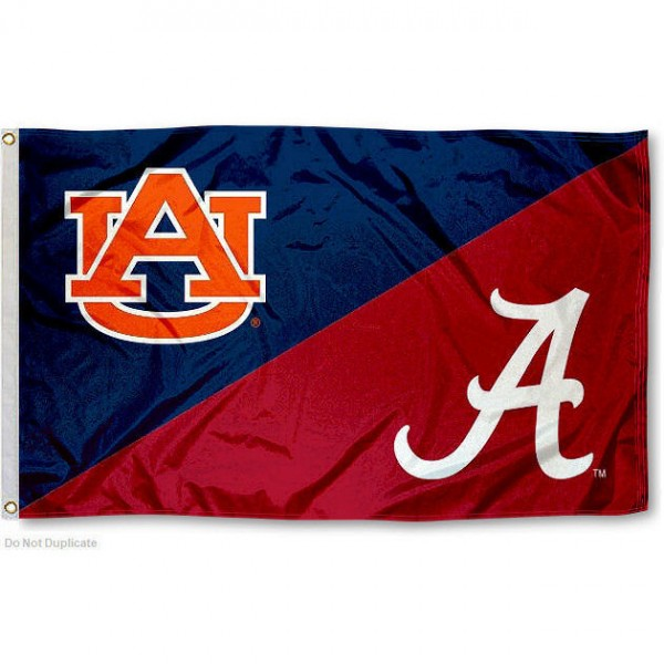 Alabama vs. Auburn House Divided 3x5 Flag sizes at 3x5 feet, is made of 100% polyester, has quadruple-stitched fly ends, and the university logos are screen printed into the Alabama vs. Auburn House Divided 3x5 Flag. The Alabama vs. Auburn House Divided 3x5 Flag is approved by the NCAA and the selected universities.