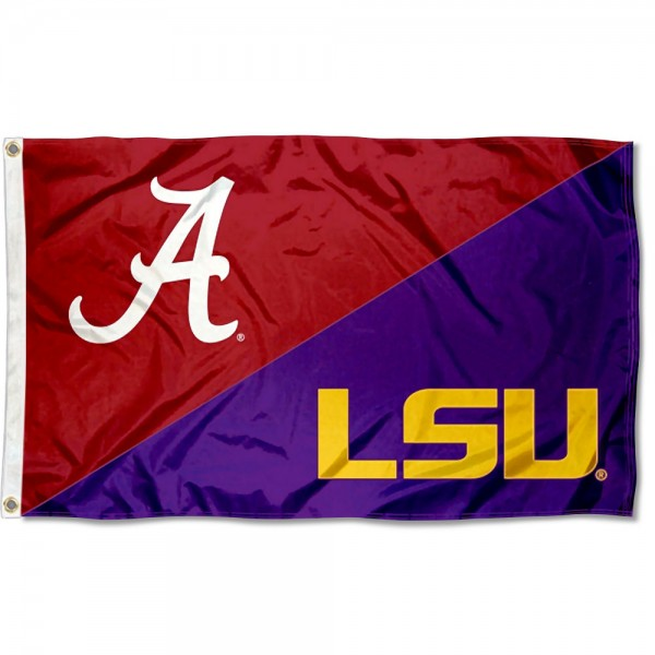 Alabama vs LSU House Divided 3x5 Flag sizes at 3x5 feet, is made of 100% polyester, has quadruple-stitched fly ends, and the university logos are screen printed into the Alabama vs LSU House Divided 3x5 Flag. The Alabama vs LSU House Divided 3x5 Flag is approved by the NCAA and the selected universities.
