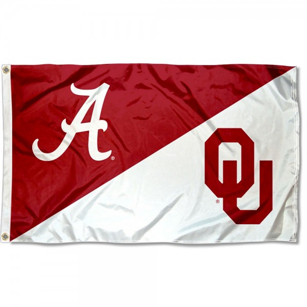 Alabama vs Oklahoma House Divided 3x5 Flag sizes at 3x5 feet, is made of 100% polyester, has quadruple-stitched fly ends, and the university logos are screen printed into the Alabama vs Oklahoma House Divided 3x5 Flag. The Alabama vs Oklahoma House Divided 3x5 Flag is approved by the NCAA and the selected universities.
