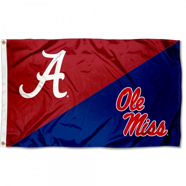 Alabama vs Ole Miss House Divided 3x5 Flag sizes at 3x5 feet, is made of 100% polyester, has quadruple-stitched fly ends, and the university logos are screen printed into the Alabama vs Ole Miss House Divided 3x5 Flag. The Alabama vs Ole Miss House Divided 3x5 Flag is approved by the NCAA and the selected universities.