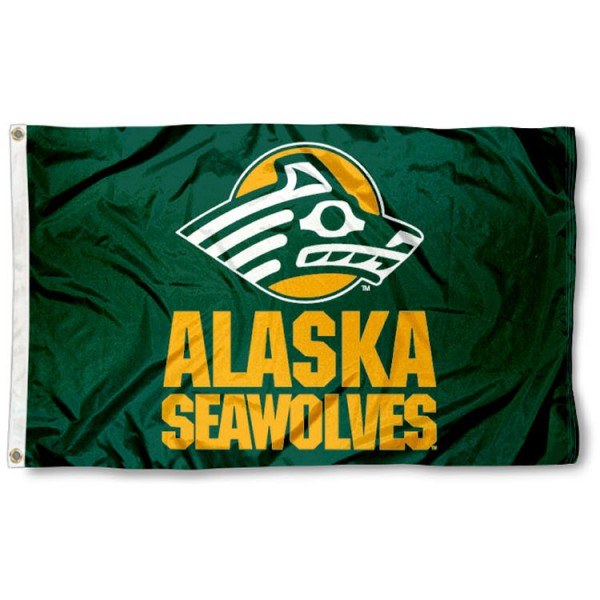 This Alaska Seawolves Flag measures 3'x5', is made of 100% nylon, has quad-stitched sewn flyends, and has two-sided Alaska Seawolves printed logos. Our Alaska Seawolves Flag is officially licensed and all flags for Alaska Seawolves are approved by the NCAA and Same Day UPS Express Shipping is available.