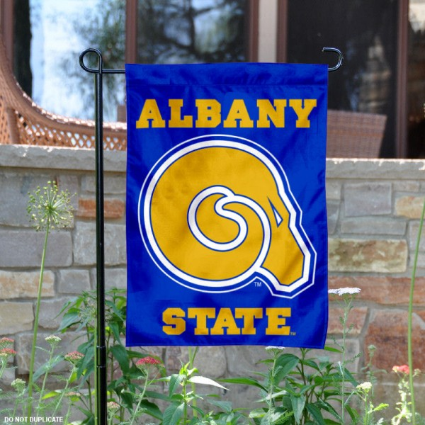 Albany State Golden Rams Garden Flag is 13x18 inches in size, is made of 2-layer polyester, screen printed university athletic logos and lettering, and is readable and viewable correctly on both sides. Available same day shipping, our Albany State Golden Rams Garden Flag is officially licensed and approved by the university and the NCAA.