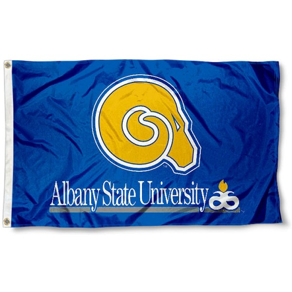 Albany State Golden Rams Logo Flag measures 3'x5', is made of 100% poly, has quadruple stitched sewing, two metal grommets, and has double sided Team University logos. Our Albany State Golden Rams 3x5 Flag is officially licensed by the selected university and the NCAA.