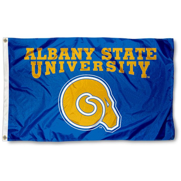 This Albany State University Flag measures 3'x5', is made of 100% nylon, has quad-stitched sewn flyends, and has two-sided Albany State University printed logos. Our Albany State University Flag is officially licensed and all flags for Albany State University are approved by the NCAA and Same Day UPS Express Shipping is available.