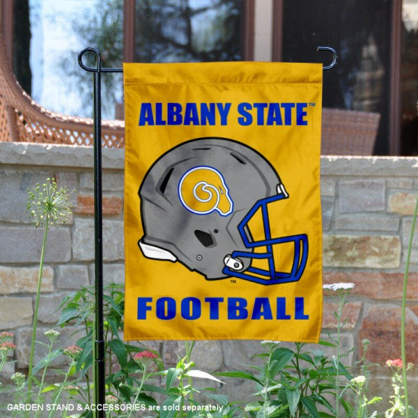 Albany State University Football Helmet Garden Banner is 13x18 inches in size, is made of 2-layer polyester, screen printed Albany State University athletic logos and lettering. Available with Same Day Express Shipping, Our Albany State University Football Helmet Garden Banner is officially licensed and approved by Albany State University and the NCAA.