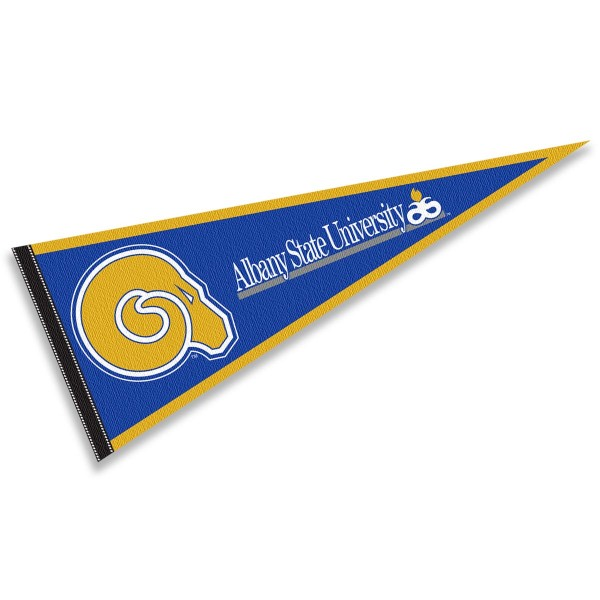 Albany State University Rams Pennant consists of our full size sports pennant which measures 12x30 inches, is constructed of felt, is single sided imprinted, and offers a pennant sleeve for insertion of a pennant stick, if desired. This Albany State University Rams Pennant Decorations is Officially Licensed by the selected university and the NCAA.