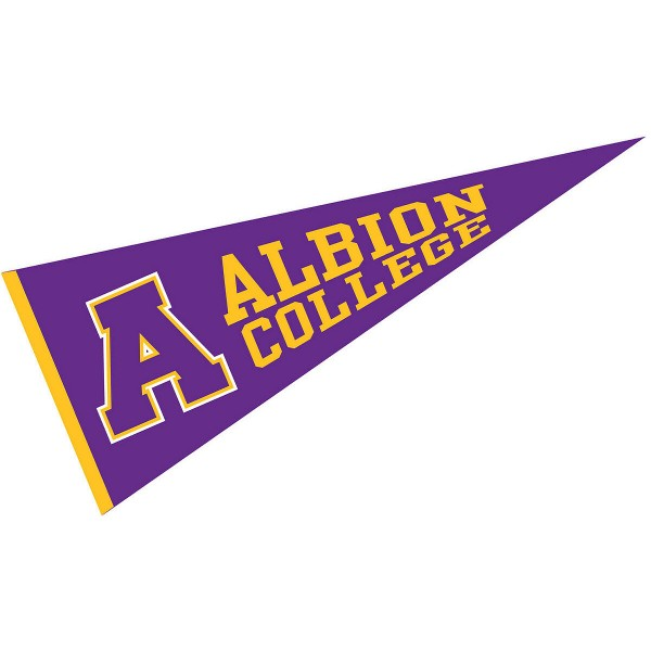 Albion College Pennant measures 12x30 inches, is made of wool, and the School logos are printed with raised lettering. Our Albion College Pennant is Officially Licensed and Approved by the University or Institution.