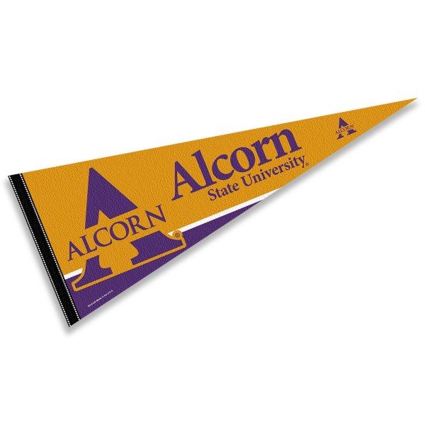 Alcorn State Pennant Decorations consists of our full size pennant which measures 12x30 inches, is constructed of felt, is single sided imprinted, and offers a pennant sleeve for insertion of a pennant stick, if desired. This Alcorn State Pennant Decorations is officially licensed by the selected university and the NCAA.