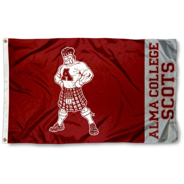 Alma College Scots Flag is made of 100% nylon, offers quad stitched flyends, measures 3x5 feet, has two metal grommets, and is viewable from both side with the opposite side being a reverse image. Our Alma College Scots Flag is officially licensed by the selected college and NCAA