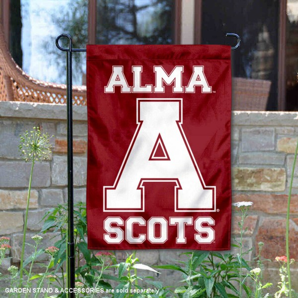 Alma Scots Garden Flag is 13x18 inches in size, is made of 2-layer polyester, screen printed university athletic logos and lettering. Available with Same Day Express Shipping, our Alma Scots Garden Flag is officially licensed and approved by the university and the NCAA.