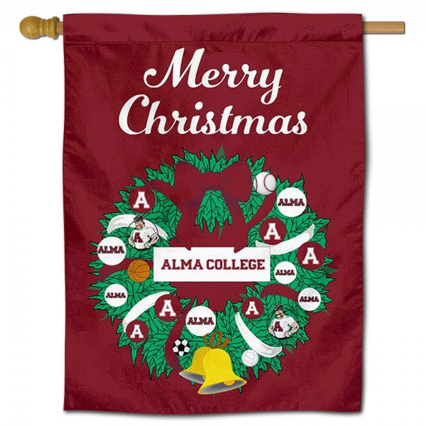 Alma Scots Happy Holidays Banner Flag measures 30x40 inches, is made of poly, has a top hanging sleeve, and offers dye sublimated Alma Scots logos. This Decorative Alma Scots Happy Holidays Banner Flag is officially licensed by the NCAA.