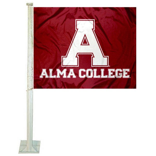 Alma Scots Logo Car Flag measures 12x15 inches, is constructed of sturdy 2 ply polyester, and has screen printed school logos which are readable and viewable correctly on both sides. Alma Scots Logo Car Flag is officially licensed by the NCAA and selected university.