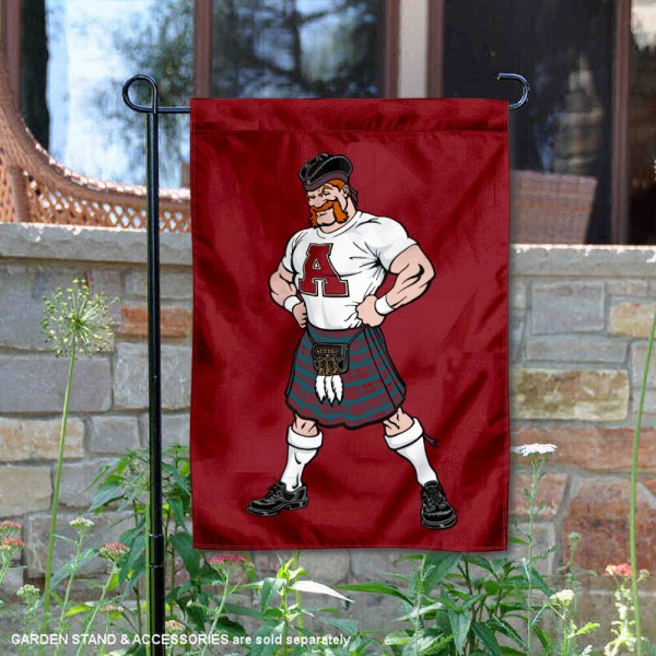 Alma Scots Scotty Mascot Garden Flag is 13x18 inches in size, is made of 2-layer polyester, screen printed university athletic logos and lettering. Available with Same Day Express Shipping, our Alma Scots Scotty Mascot Garden Flag is officially licensed and approved by the university and the NCAA.