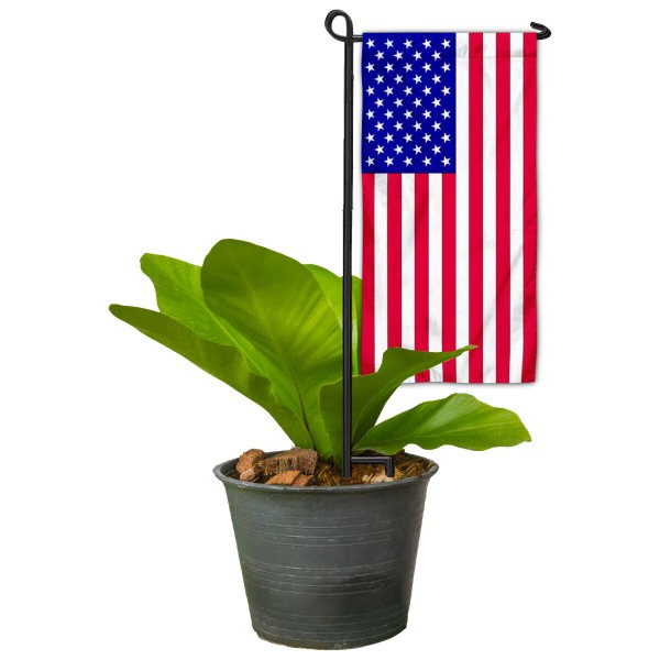 "American Flag Flower Pot Topper Flag kit includes our 4""x8"" mini garden banner and 6"" x 14"" mini garden banner stand. The mini flag is made of 1-ply polyester, has screen printed logos and the garden stand is made of steel and powder coated black."