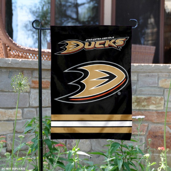 Anaheim Ducks Garden Flag is 12.5x18 inches in size, is made of 2-ply polyester, and has two sided screen printed logos and lettering. Available with Express Next Day Ship, our Anaheim Ducks Garden Flag is NHL Officially Licensed and is double sided.