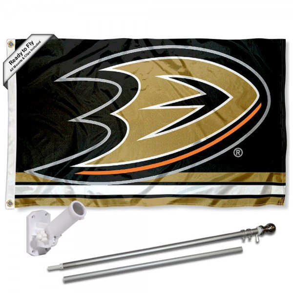 Our Anaheim Mighty Ducks Flag Pole and Bracket Kit includes the flag as shown and the recommended flagpole and flag bracket. The flag is made of polyester, has quad-stitched flyends, and the NHL Licensed team logos are double sided screen printed. The flagpole and bracket are made of rust proof aluminum and includes all hardware so this kit is ready to install and fly.