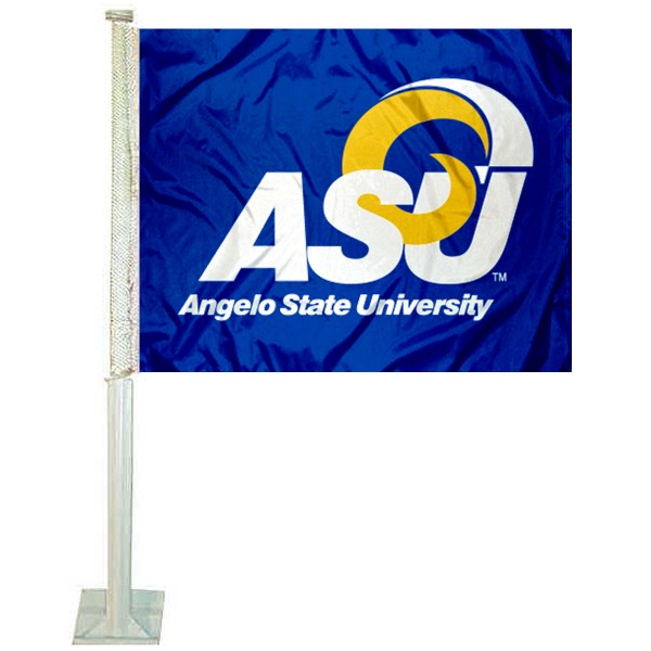 Angelo State Rams Logo Car Flag measures 12x15 inches, is constructed of sturdy 2 ply polyester, and has screen printed school logos which are readable and viewable correctly on both sides. Angelo State Rams Logo Car Flag is officially licensed by the NCAA and selected university.