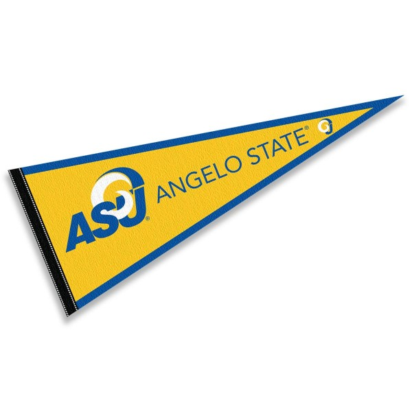 Angelo State Rams Pennant consists of our full size sports pennant which measures 12x30 inches, is constructed of felt, is single sided imprinted, and offers a pennant sleeve for insertion of a pennant stick, if desired. This Angelo State Rams Pennant Decorations is Officially Licensed by the selected university and the NCAA.