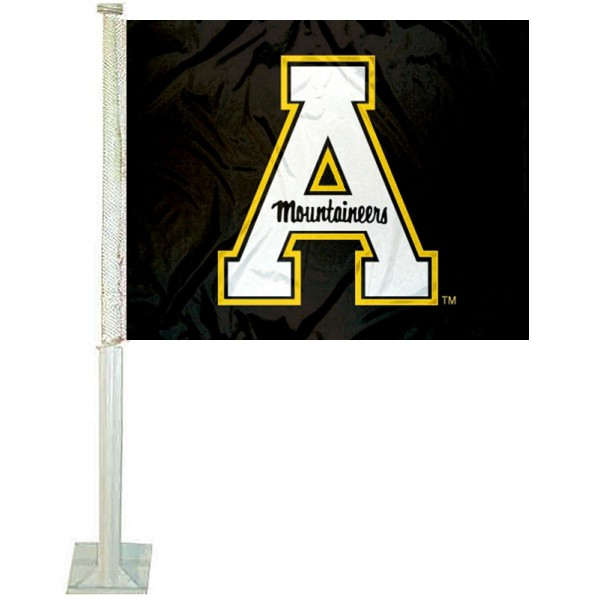 App State Mountaineers Car Window Flag measures 12x15 inches, is constructed of sturdy 2 ply polyester, and has screen printed school logos which are readable and viewable correctly on both sides. App State Mountaineers Car Window Flag is officially licensed by the NCAA and selected university.