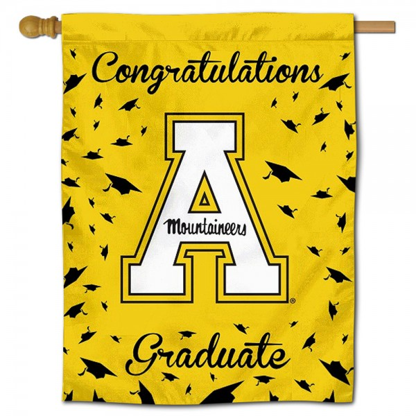 App State Mountaineers Congratulations Graduate Flag measures 30x40 inches, is made of poly, has a top hanging sleeve, and offers dye sublimated App State Mountaineers logos. This Decorative App State Mountaineers Congratulations Graduate House Flag is officially licensed by the NCAA.