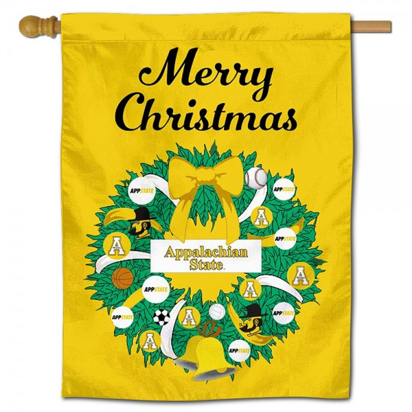 App State Mountaineers Happy Holidays Banner Flag measures 30x40 inches, is made of poly, has a top hanging sleeve, and offers dye sublimated App State Mountaineers logos. This Decorative App State Mountaineers Happy Holidays Banner Flag is officially licensed by the NCAA.
