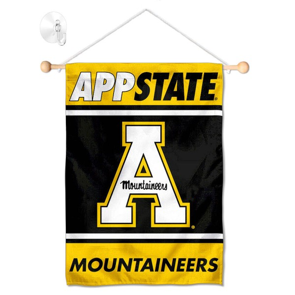 """App State Mountaineers Window and Wall Banner kit includes our 13""""x18"""" garden banner which is made of 2 ply poly with liner and has screen printed licensed logos. Also, a 17"""" wide banner pole with suction cup is included so your App State Mountaineers Window and Wall Banner is ready to be displayed with no tools needed for setup. Fast Overnight Shipping is offered and the flag is Officially Licensed and Approved by the selected team."""